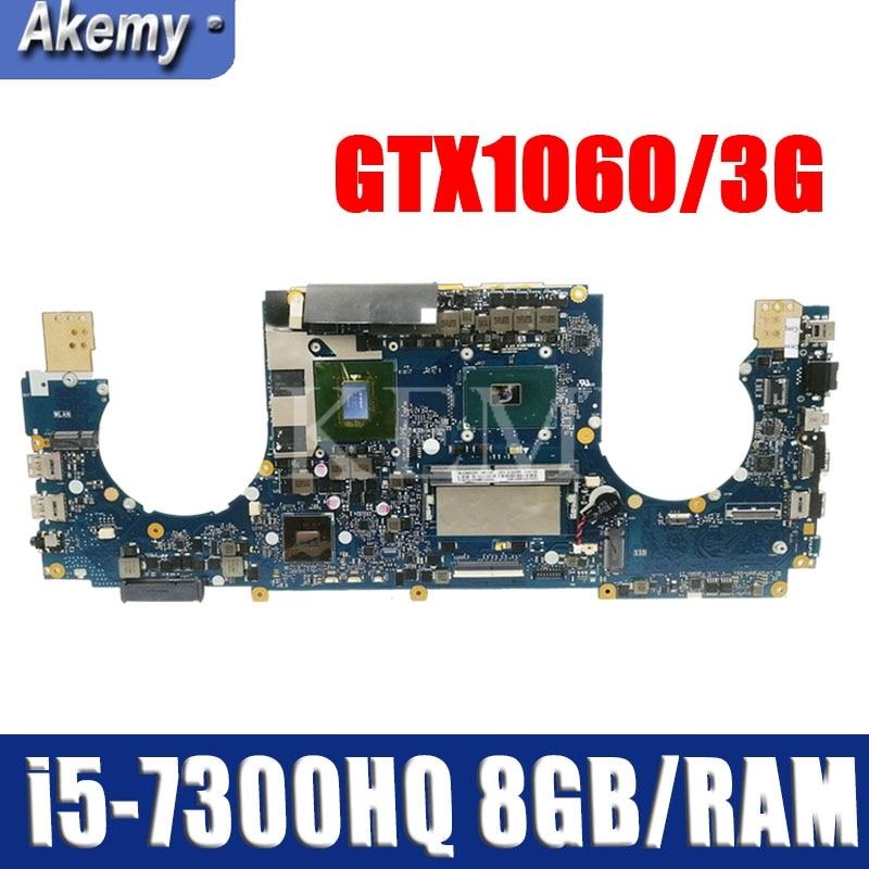 GL502VMK Motherboard REV:2.0 For ASUS GL502VM GL502VML Laptop Motherboard HM170 I5-7300HQ GTX1060/3G 8GB/RAM 100% Tested Intact