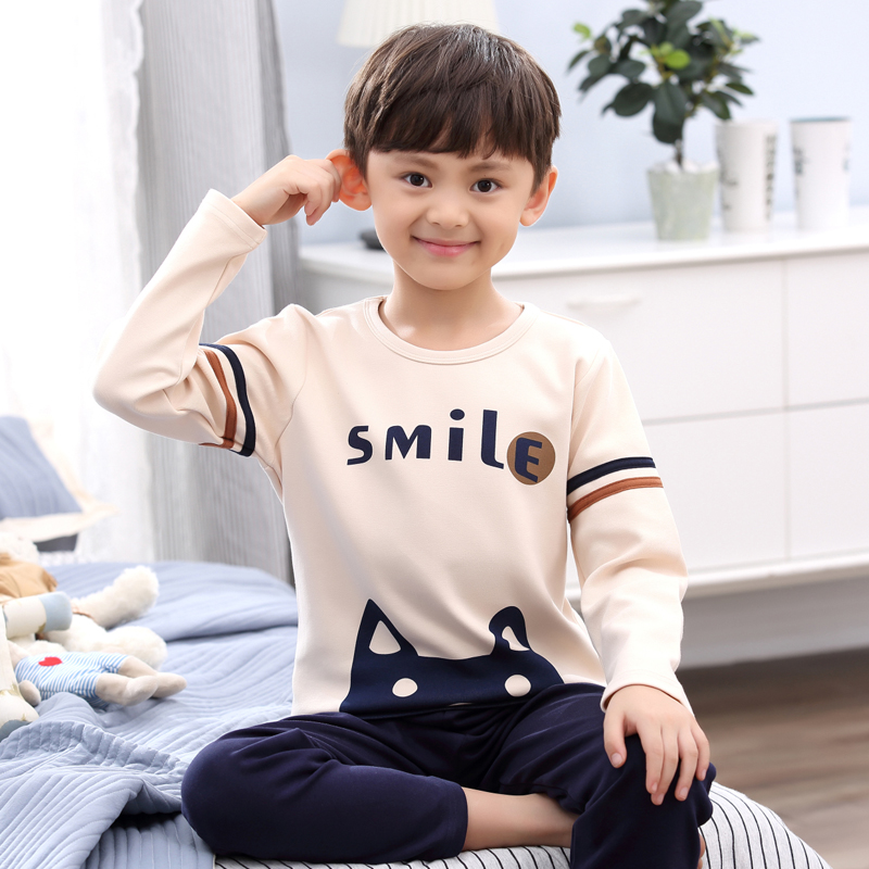 H5649 Boys Pajamas Spring Autumn Thin Long Sleeves Sleepwear Cotton Round Collar Cartoon Comfortable Home Service Suit Nightwear