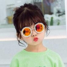 KOTTDO 2020 Brand Kids Sunglasses Metal Round Pearl Girls Boby Childrend Sun Gla