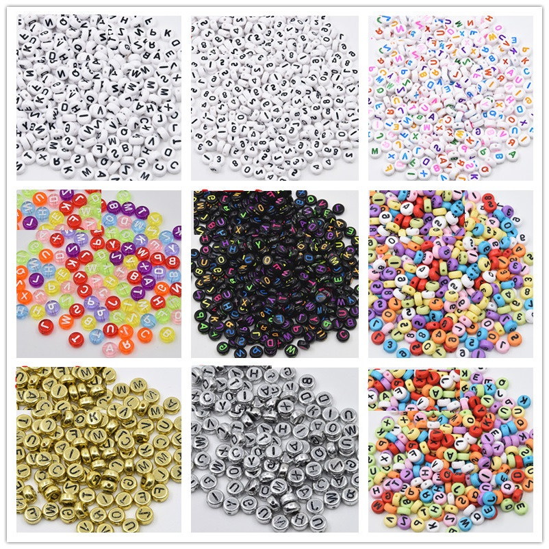 Letter Acrylic Beads Alphabet Color Beads Puzzles Necklace Craft DIY Loom Bands Bracelets Jewelry For Kids Children Toys 100 Pcs