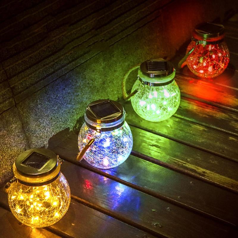 30 LED Solar Garden Light Crack Ball Glass Mason Jar Night Light Lanterns For Courtyard Patio