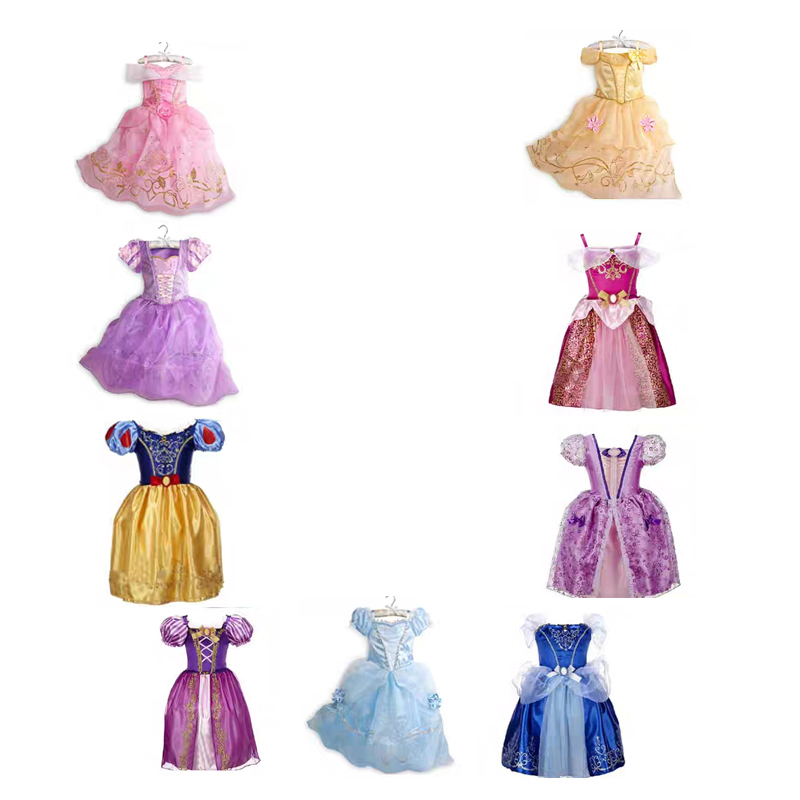 2-8t  Girl Princess Dress Rapunzel Dress Up Baby Snow White Belle Cinderella Cosplay Costume For Party Birthda