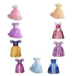 2-8t menina vestido de princesa rapunzel fantasiar-se bebê neve branca belle cinderela cosplay traje para festa birthda