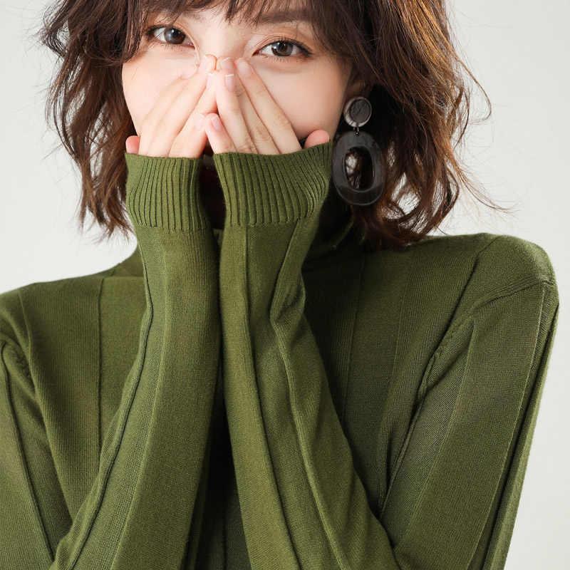 2019 סתיו החורף החדש women'sturtleneck ארוך שרוולים מוצק צבע סוודר קצר סעיף פראי חולצה