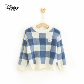 Disney Children's Clothing Baby Sweater Sweater Girl Fashion Plaid Pullover Sweater Baby Sweater Boys Sweaters Pullover Mickey фото