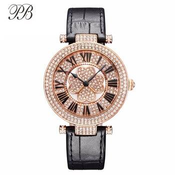 PB Luxury Elegant Women Watch Crystal Rotate Four-leaf Clover Dial Leather Strap Waterproof Ladies Quartz Watch Montre Femme