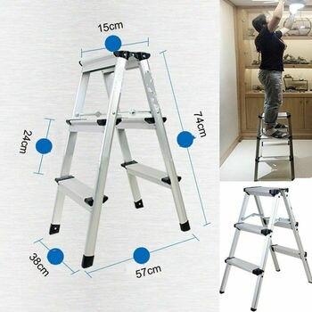 цена на Honhill Folding Ladder Portable 3 Step Folding Ladder Aluminum Step Ladder Loadable Up 150kg For Household