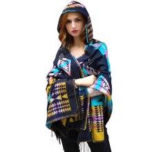 Luxury Winter Hooded Outwear Wool Blend poncho coat Boho Style Geometric Cardigan Sweater Blanket Cloak Women's Poncho Cape