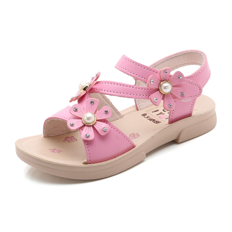 Teens Girl Sandals Children flowers princess Shoes Kids School student Flats Sandals For Little girls and big girl 2 3 4 5 6-15