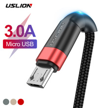 USLION Micro USB Cable for Xiaomi Redmi Note 5 Pro 1m 2m 3A QC3.0 Charging Data Samsung S7 Mobile Phone Charger