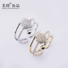 Fashion Open Gold/Silver Color Ring Zircon Women Ring Adjustable Engagement Ring Jewelry Hot sell Finger Ring Gift Package cuteeco hight quality silver color lovely bee adjustable ring for women original pan finger ring jewelry engagement gift