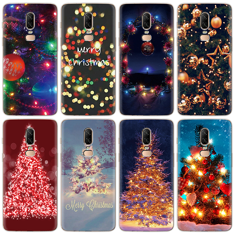 Christmas Tree Phone <font><b>Case</b></font> For One plus 7 Pro 1+7 Silicone Coque For One Plus <font><b>3</b></font> 5 5T 6 6T Soft TPU <font><b>Case</b></font> For <font><b>OnePlus</b></font> 6 1+6 <font><b>Glitter</b></font> image