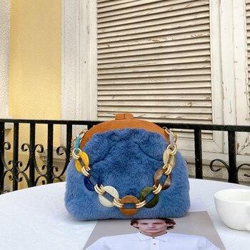 Women New Fur Wooden Handle Bag Lady Fashion Elegant Acrylic Chain Clip Handbag Women Fashion Party Autumn Winter Bag
