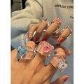 HUANZHI 2020 Новое корейское красочное прозрачное акриловое полимерное геометрическое квадратное кольцо в виде медведя для женщин и девушек юве...