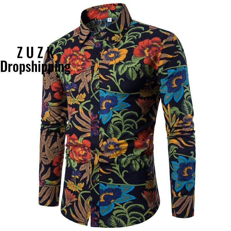 LinenCotton Material Camisa Masculina Shirts Men Flower Shirt New Slim Fit Casual Long Sleeve  Chemise Homme Social Men Shirt