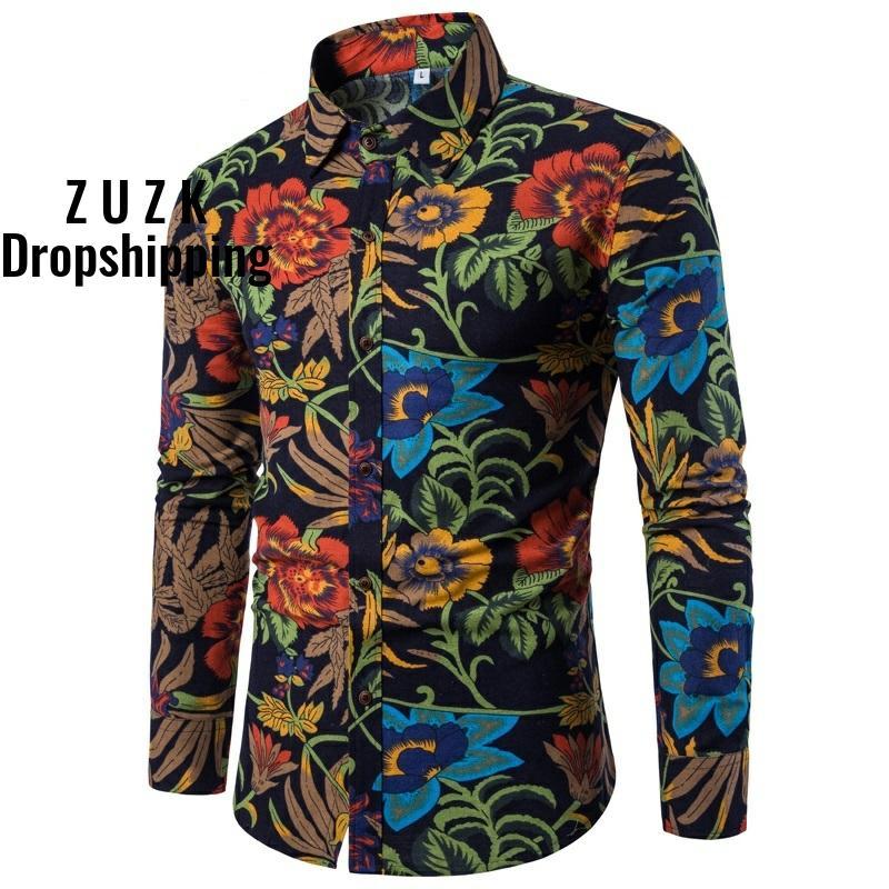 LinenCotton Material Camisa Masculina Shirts Men Flower Shirt New Slim Fit Casual Long Sleeve  Chemise Homme Social Men Shirt