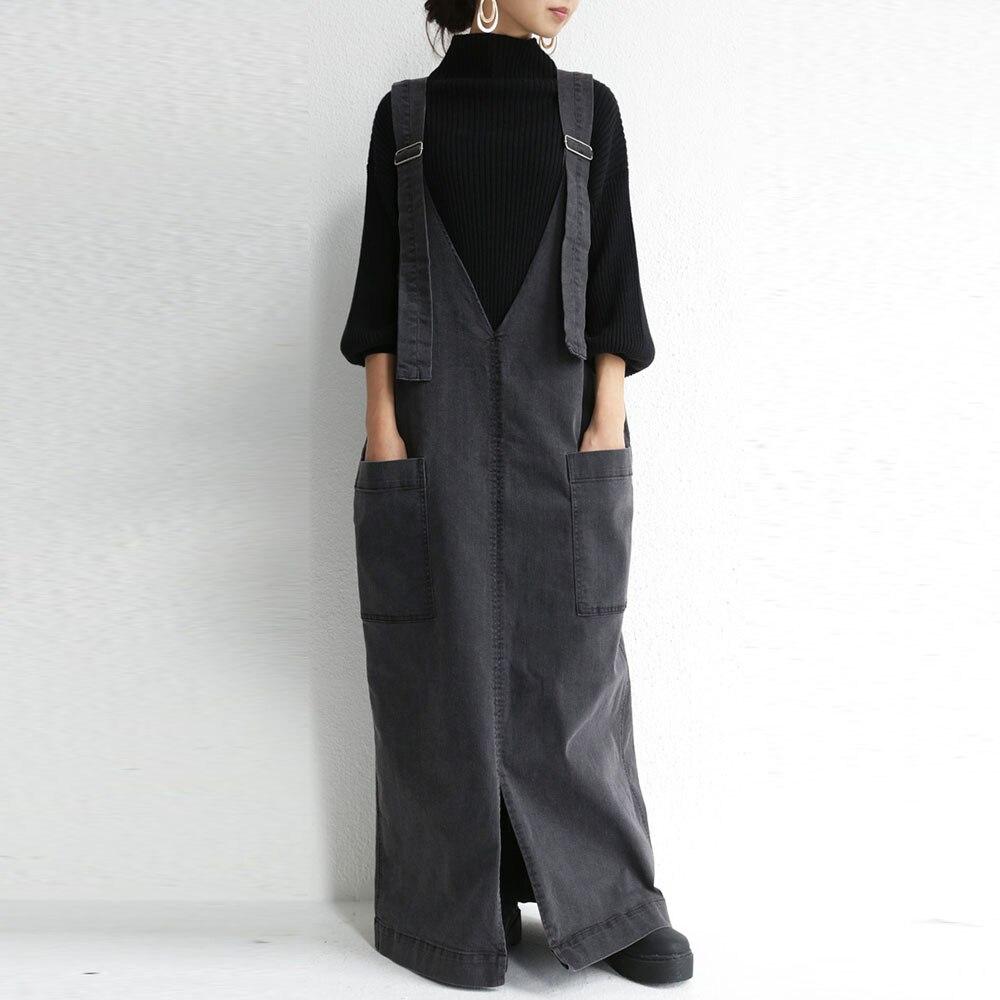 2019 Fashion Korean Strap Denim One-piece Dresses Fashion Suspenders For Women Jeans Long Maxi Dress Plus Size Floor Length