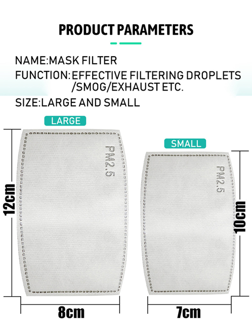 20pcs PM2.5 Anti Haze Mouth Mask Replaceable Filter-slice 5 Layers Non-woven Adult Child Kids Activated Carbon Filter 5