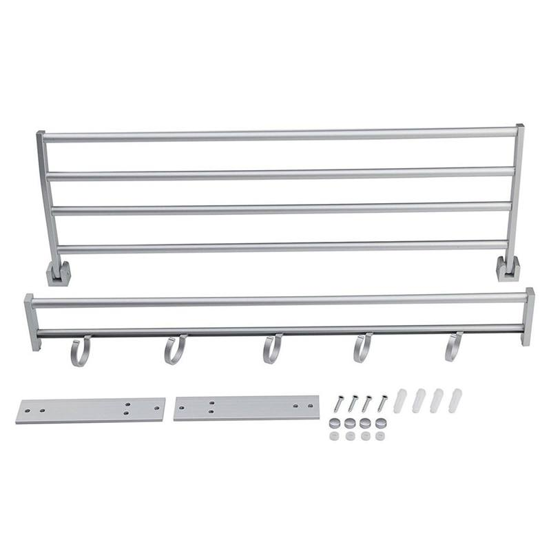 Modern Double Wall Mounted Bathroom Bath Towel Rails Holder Storage Rack Shelf