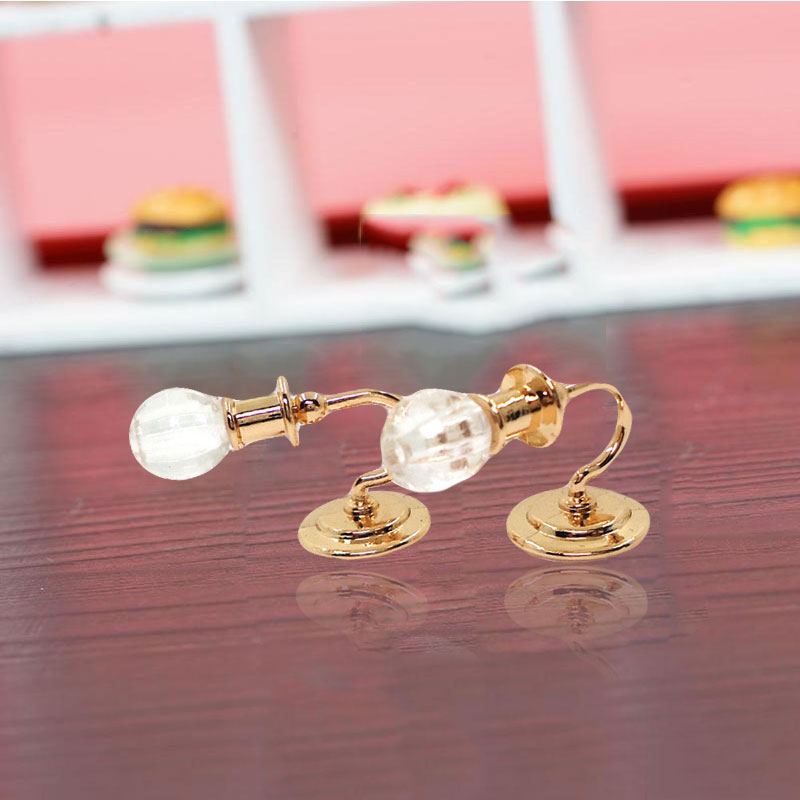 2Pcs Metal Dollhouse Miniature Furniture 1:12 Doll House Miniature Wall Light Lamp Model Decoration Doll House Toy for Children(China)