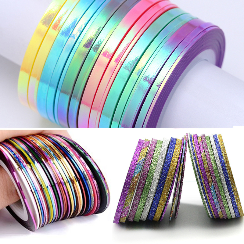 Matte Glitter Nail Striping Tape Line Multi Color Nail Styling Tool Sticker Decal DIY Nail Art Decorations