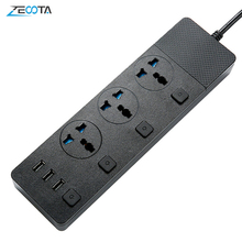 Multi Power Strip Surge Protection 3 AC Universal Outlets Electrical Plug Socket with USB Independent Switch 2m Extension Cord