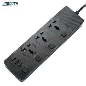 Image 1 - Multi Power Strip Surge Protection 3 AC Universal Outlets Electrical Plug Socket with USB Independent Switch 2m Extension Cord