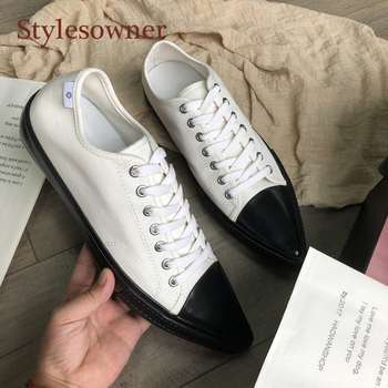 Stylesowner Women Low Flat Sneakers Shoes Color Match Canvas Pointed Toe Lace Up Casual Shoe Fashion Comfortable Autumn Shoe