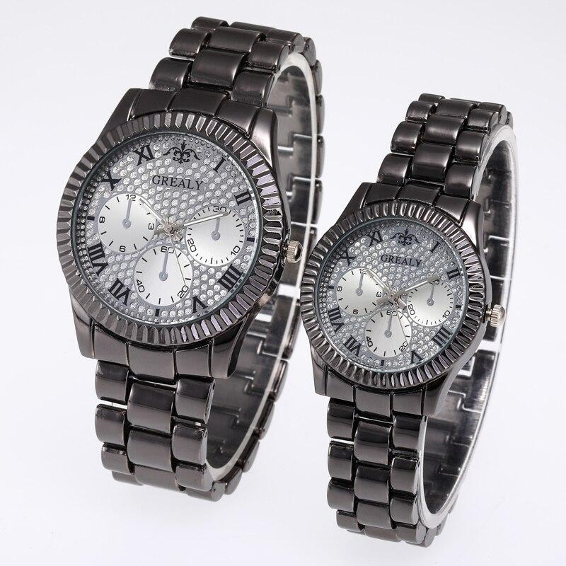 Three Eye Luxury Wristwatch Ladies Pair Watch Femme Stainless Steel Strap Couple Watches Lovers Women Man Quartz Female