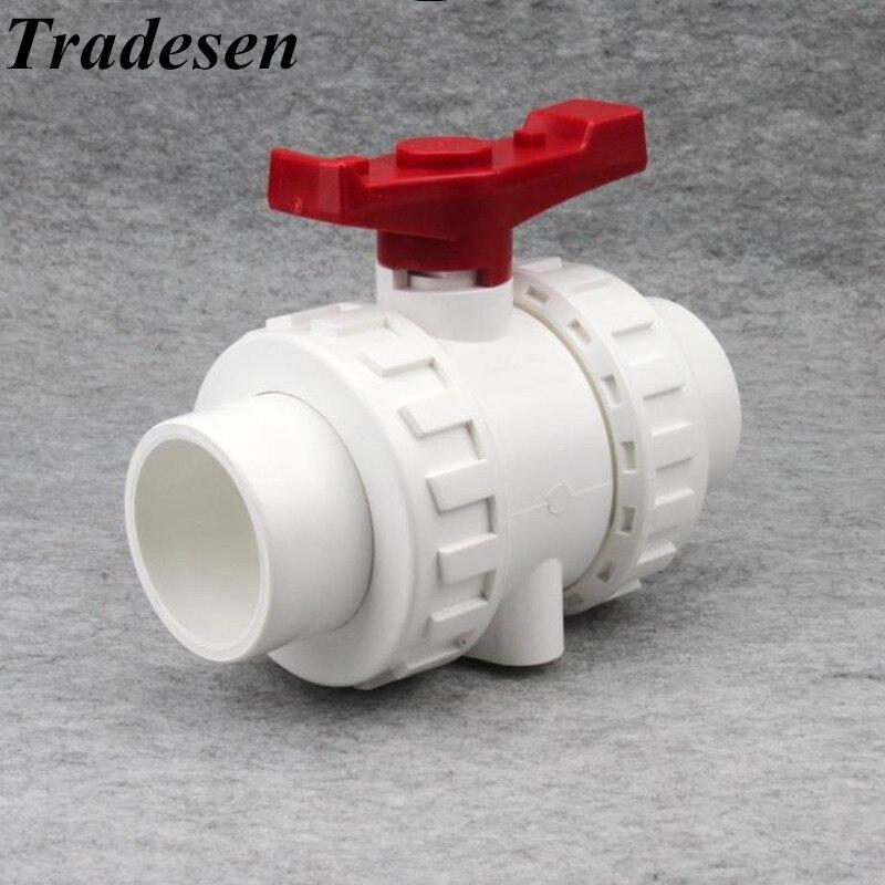 1pcs White 20mm 25mm 32mm 40mm 50mm PVC Ball Valve Union Valve PVC Water Pipe Connector Plumbing Hose Fittings Slip Shut Valve