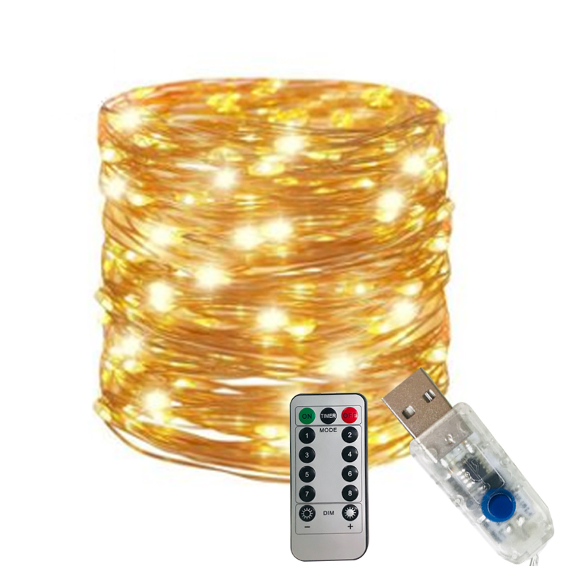 5m 10m USB Copper Wire String Lights With 8 Mode Controller Fariy Lighting Waterproof For Indoor Outdoor Decoration Dimmable