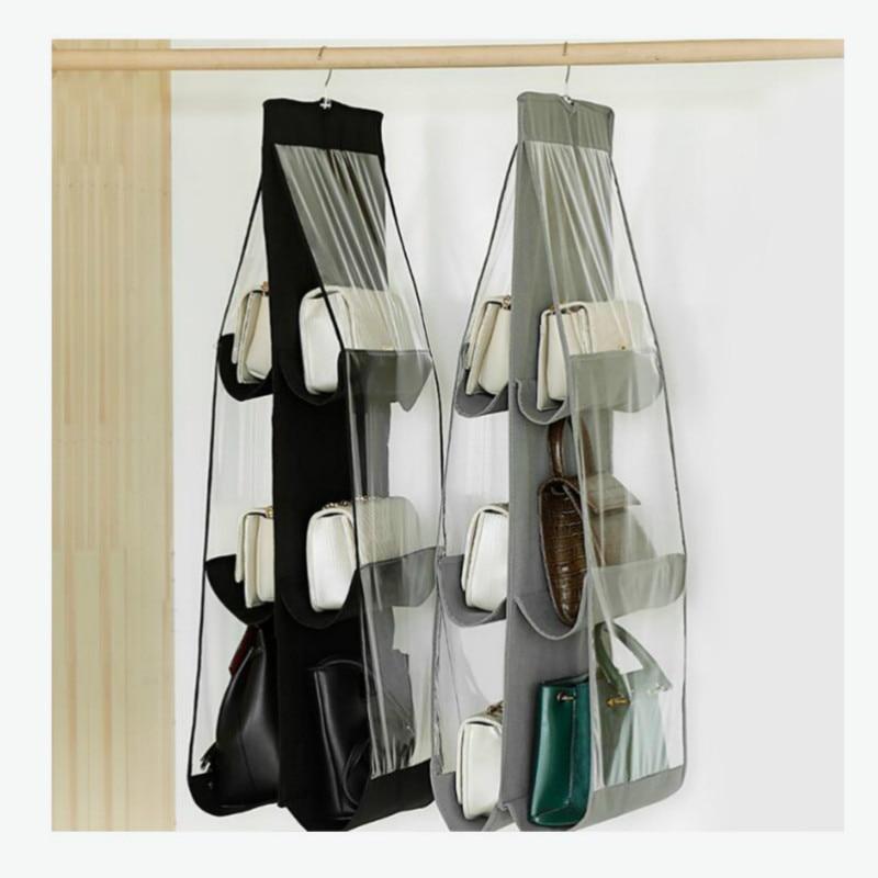 6 Pocket Hanging Handbag Organizer for Wardrobe Closet Transparent Storage Bag Door Wall Clear Sundry Shoe Bag with Hanger Pouch 2