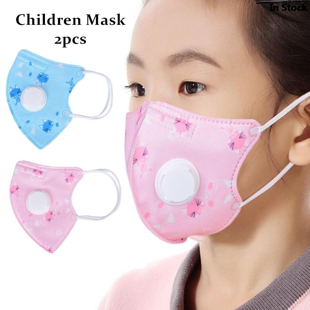 2Pcs Children Anti Haze Non Woven Mask Anti Fog Dust Musk PM2.5 Kids Anti Virus Face Mask Breath Valve Breathable Respirator