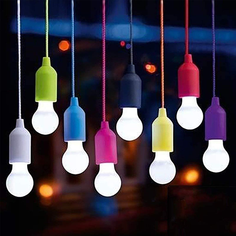 LED Hanging Light Bulb Battery Powered Colorful Pull Cord Bulbs LED Drop Lamps For Outdoors Camping Home Garage Patio and Tent(China)