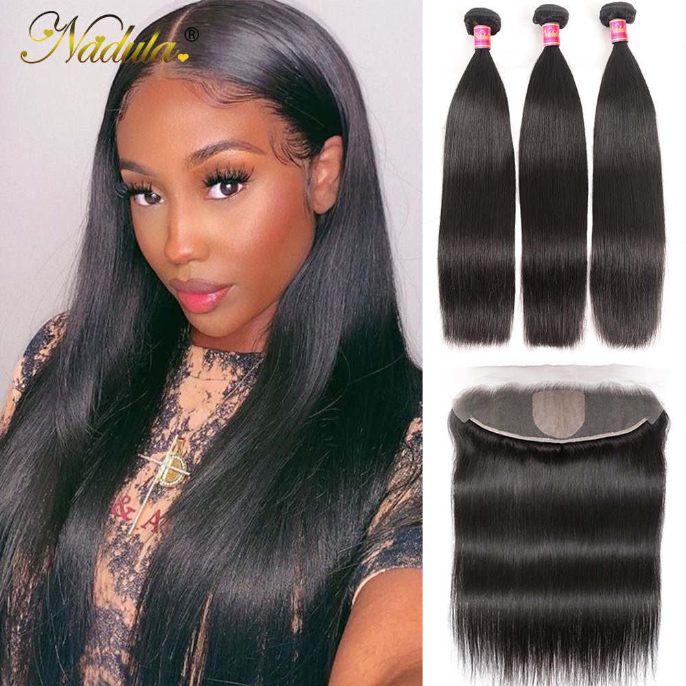 13x4 Straight  Lace Frontal 28 30 inch Bundles With Frontal  Straight Hair Bundles With Closure Nadula Hair 1