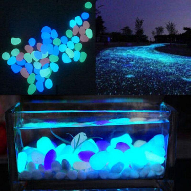 Home Garden Fish Tank Decoration Ornaments Garden Paving Resin Pebbles Night Luminous Stone 100 Packs Set