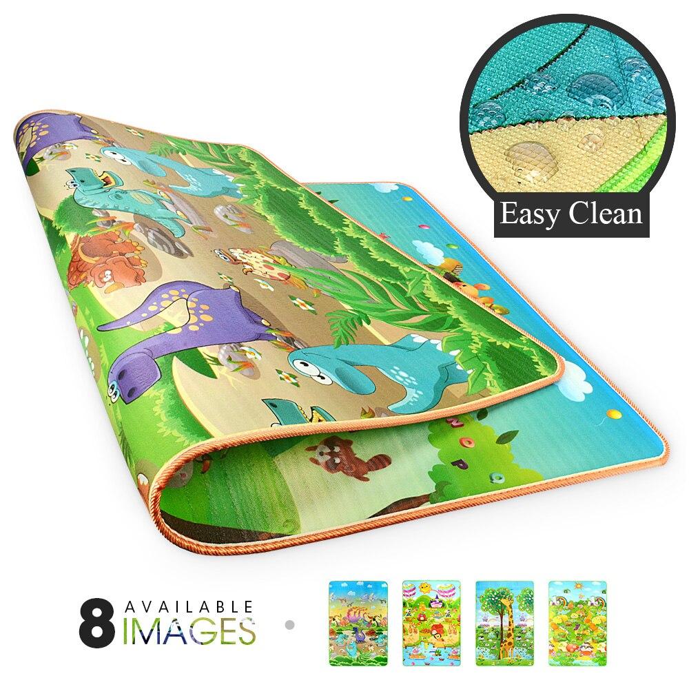 Коврик игровой детский складной, игровой коврик с роликами для ползания, с мультяшными животными, складной, с двойной поверхностью
