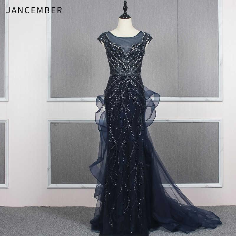 JANCEMBER ערב שמלות נשף ארוך אשליה o צוואר שווי שרוול ציפר חזור פאייטים פורמליות שמלת נשים אלגנטית vestidos דה גאלה
