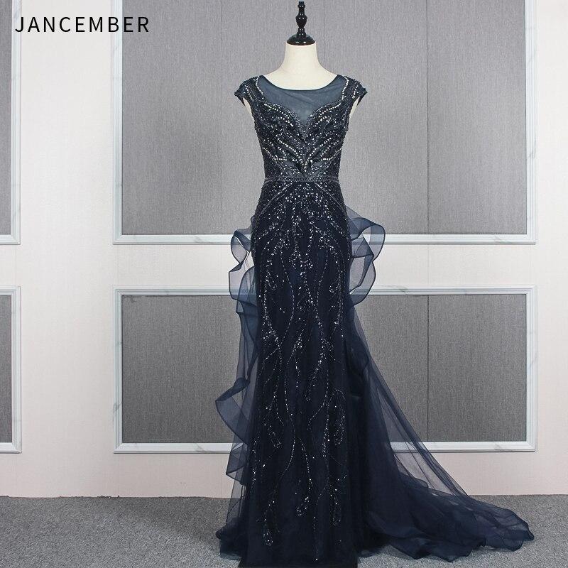 JANCEMBER soirée robes de bal longue illusion o cou capuchon manches fermeture éclair dos paillettes robe formelle femmes élégant vestidos de gala