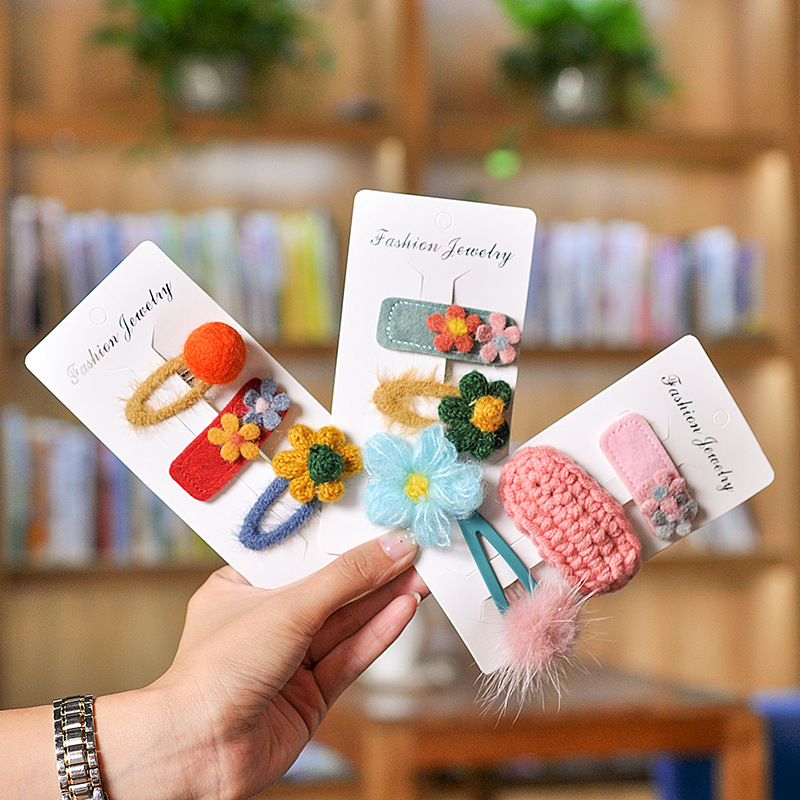 3 Piece Set Flower Cartoon Hairpins Lovely Kids Girls Hair Clips Barrettes Multicolor Hair Accessories