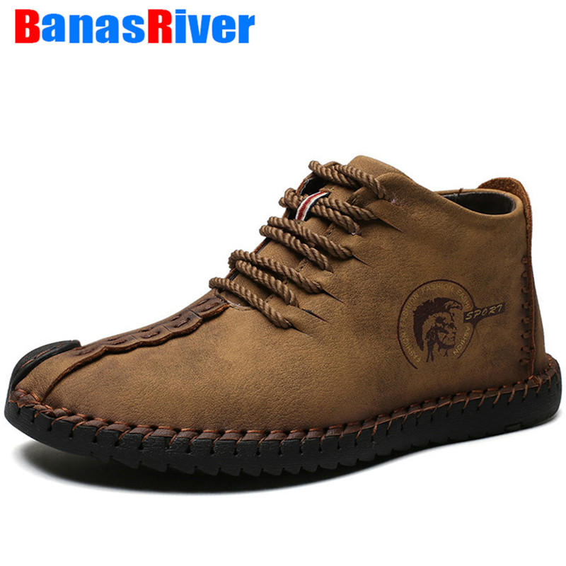 2020 NEW Handmade Men Boots Leather Comfortable Snow Lace-Up Lightweight Spring Autumn Winter Ankle Shoes Footwear Big Sizes 48