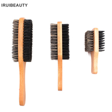 цена на Men Solid Wood Boar Shaving Brush Beard Massage Log Color Boar Bristle Hair Brush Curved Wooden Men Beard Mustache Brushes