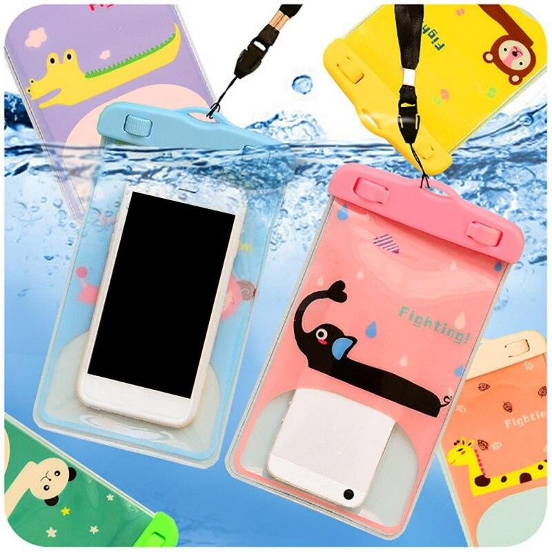 Beach Sport Mobile Phone Printed Cartoon Waterproof Cellphone Bag For Snorkeling Swimming Diving Rafting Transparent Underwater
