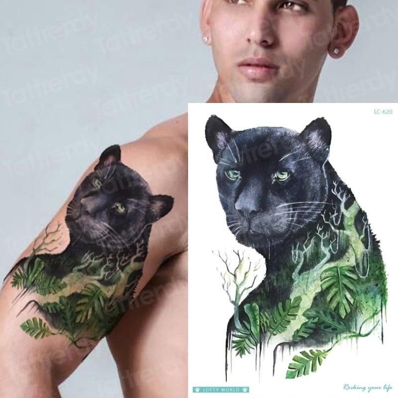 Waterproof Temporary Sleeve Tattoo Tribal Designs Leopard Tiger Tattoo King Animals Temporary Tattoo Sticker Men Shoulder Tattoo