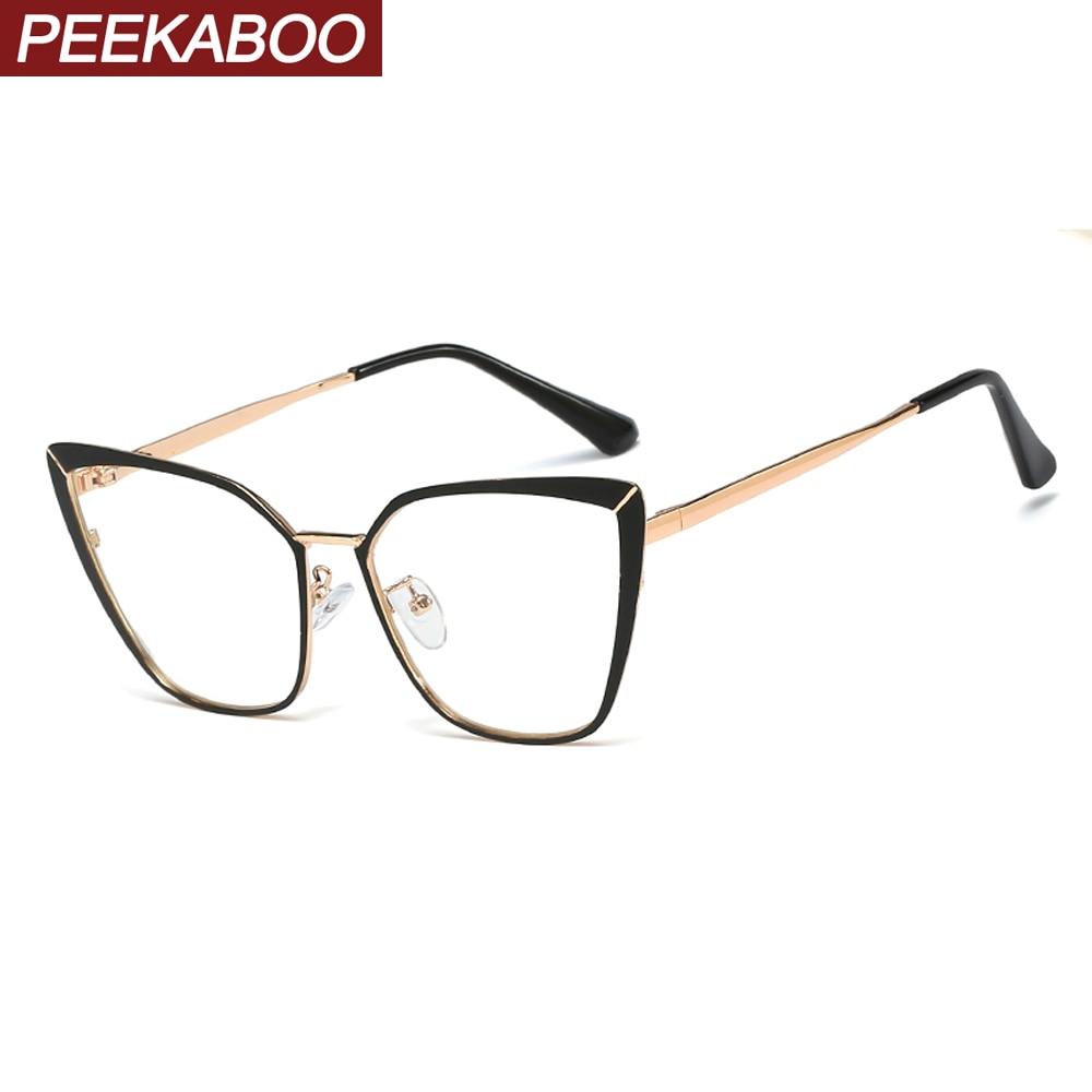 Peekaboo Metal Eyeglass Frames For Women Cat Eye Accessories Fashion Clear Lens Gold Pink Female Glasses Frame Prescription