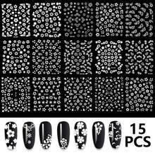 15 Sheets set The New 3D Nail Sticker Transparent Flower Leaf Series DIY Nail Sticker Decoration