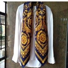 ผู้หญิง100% ผ้าพันคอผ้าไหมผ้าคลุมไหล่Foulard Luxury Soft Smoothสัมผัส108*108ซม.