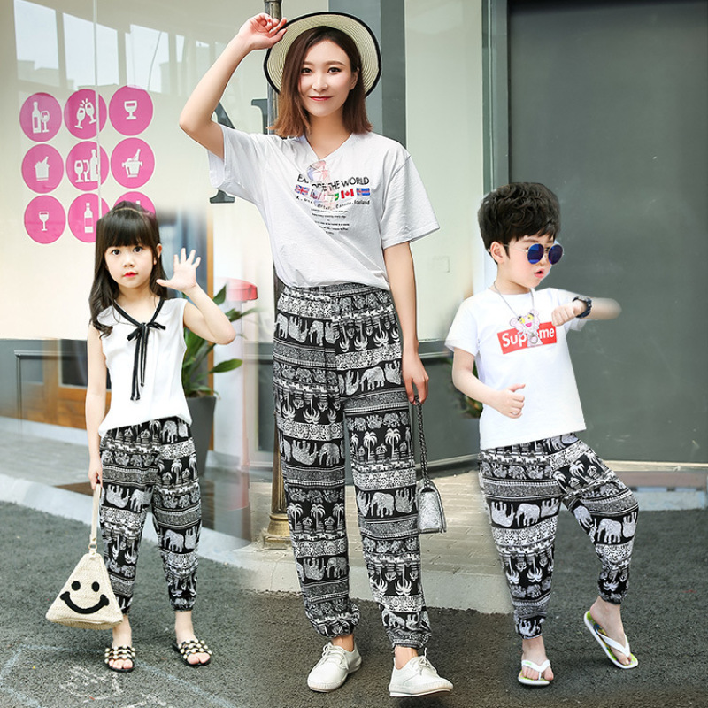 Mother Daughter Long Pants Mom Girls Baby Loose Beach Pants Family Matching Leggings Trousers Animal Printed Pants Outfits