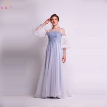 A-Line Seqins Evening Dresses 2019 New Three Quarter Lantern Sleeves Beading Prom Party Gowns Floor Length Long robe de soiree