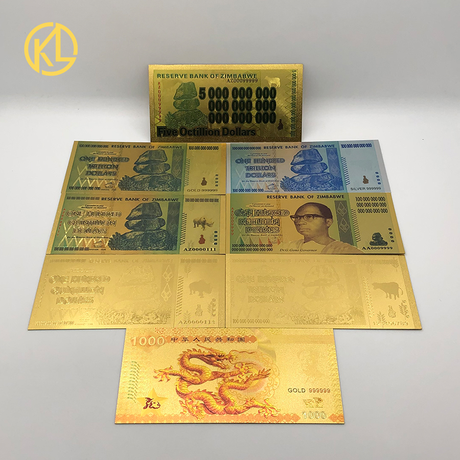 WR 10 Pcs Zimbabwe 100 Trillion D. $ Gold Plated Notes//LIMITED TIME//GIFT